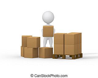 image., gens, boxes., porter, petit, carton, 3d