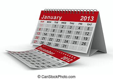 image, january., isolé, calendar., année, 2013, 3d