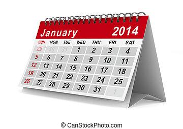 image, january., isolé, calendar., année, 2014, 3d