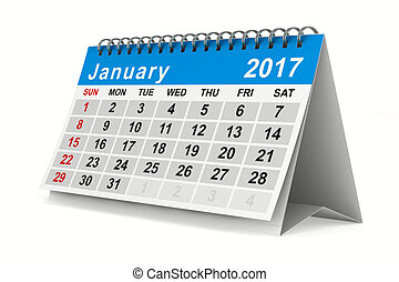 image, january., isolé, calendar., année, 2017, 3d