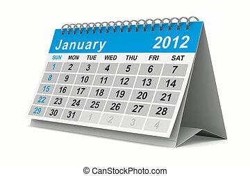 image, january., isolé, calendar., année, 3d, 2012