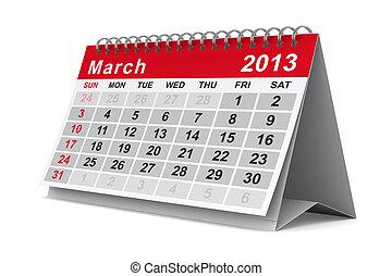 image, march., isolé, calendar., année, 2013, 3d