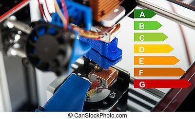 imprimante, imprimante, travail, trois, plastique, dimensionnel, impression, pendant, électronique, 3d