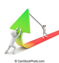 improvement!, statistiques, image., gens, -, arrière-plan., petit, blanc, 3d