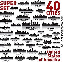 incroyable, etats, uni, set., horizon, ville, america.