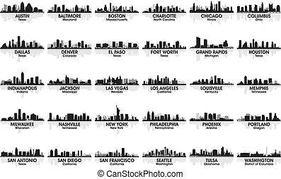 incroyable, skyline., 30, cities., usa, ensemble, ville