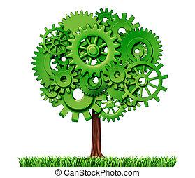 industrie, arbre, business, reussite
