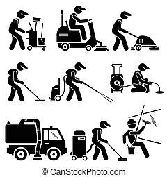 industriel, cliparts, ouvrier, nettoyage