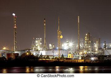 industriel, paysage, nuit