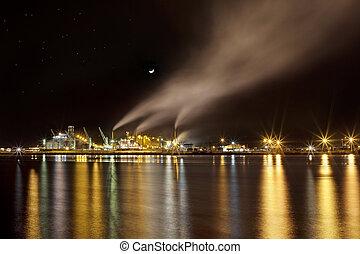industriel, scène, nuit