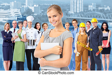 industriel, workers., femme, groupe, business