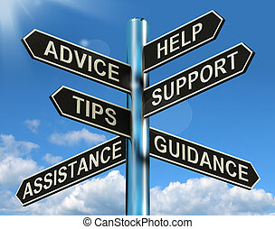 information, aide, poteau indicateur, conseil, soutien, pointes, direction, spectacles