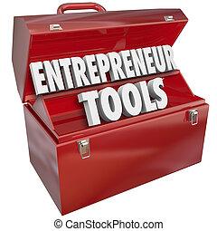 information, aide, techniques, idées, entrepreneur, boîte outils, outils, rouges