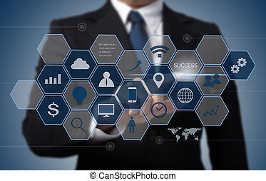 information, concept, business, fonctionnement, moderne, informatique, interface, technologie, homme