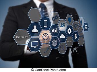 information, fonctionnement, business, moderne, interface, ordinateur homme, technologie, concept