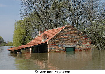 inondation, dû, désastre
