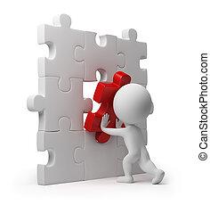 insertion, gens, puzzle, -, petit, 3d