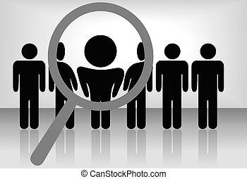 inspecte, découvertes, emploi, etc, &, recherche, verre, magnifier, personne, choisir, people:, ligne, location, selects, ou, reconnaissance, promotion