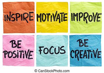 inspirer, motiver, notes, améliorer