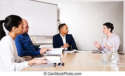instruit, business, entrepreneurs, professionnel, divers, 4, entre, racially, réunion