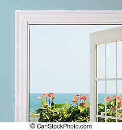 intérieur, house., /, océan, recours, vert, anthurium, feuillage, vue., fleurs, vue