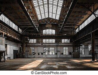 intérieur, industriel, vieux, usine
