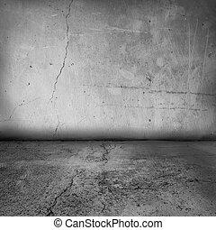 intérieur, mur, grunge, plancher