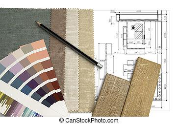 intérieur, table travail, conception