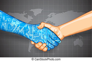 interaction, technologie, humain