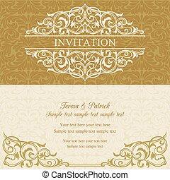 invitation, baroque, beige, or