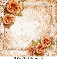 invitation, carte, fond, roses, salutation, ou, vendange