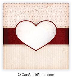 invitation, coeur, carte, étiquette, vendange