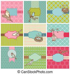 invitation, -, vecteur, cartes, ensemble, mariage, oiseaux, coloré, anniversaire, vendange
