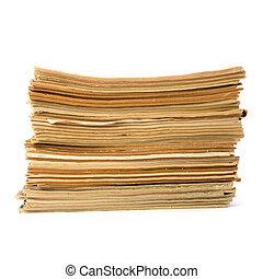 isolé, fond, lambeaux, blanc, journaux, pile