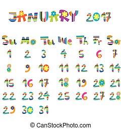 janvier, 2017, calendrier