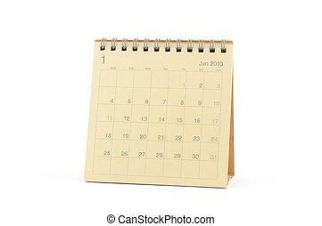 janvier, calendrier, -, 2010