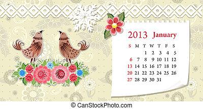 janvier, calendrier, 2013
