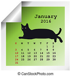 janvier, calendrier, 2016