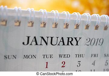 janvier, calendrier, 2019, haut fin