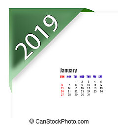janvier, calendrier, 2019