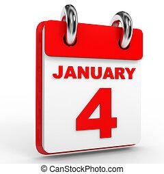 janvier, calendrier, blanc, 4, arrière-plan.
