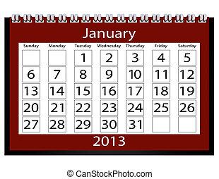 janvier, calendrier, render, 2013, 3d