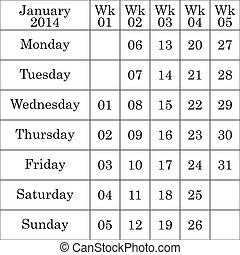 janvier, faible, nombre, chaque, 2014, calendrier
