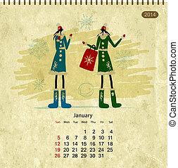 janvier, filles, ton, retro, 2014, calendrier, conception