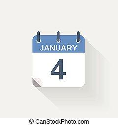 janvier, gris, 4, fond, calendrier, icône