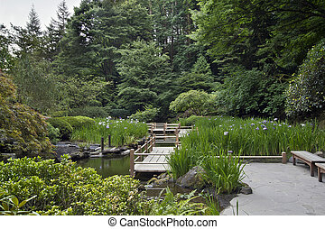 japonaise, pont, zig, jardin, zag