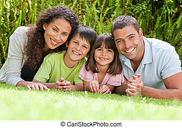 jardin, bas, mensonge, famille, heureux