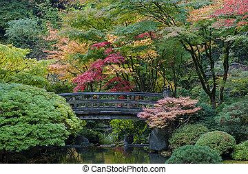 jardin, bois, japonaise, orégon, portland, pont