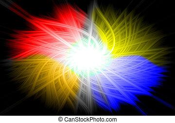 jaune, bleu, orange, fond, rouges
