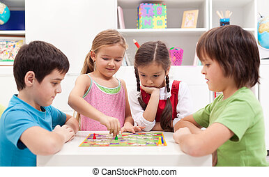 jeu, jouer, planche, enfants